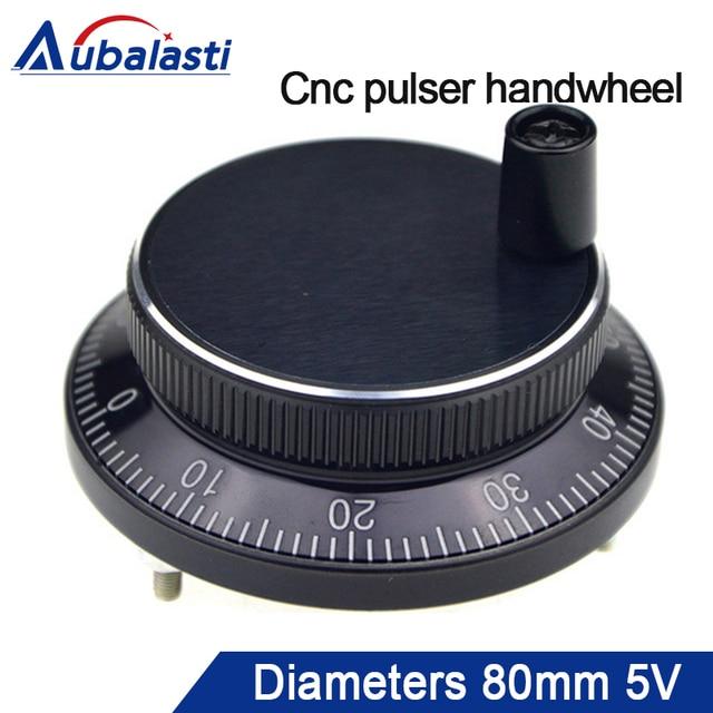 Aubalasti Cnc pulseur volant diamètre 80mm impulsion 100 DC5v 6 broches ou 4 broches CNC machine manuel impulsion codeur Generato