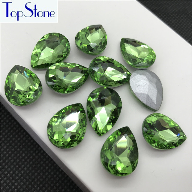 Peridot Color TEARDROP Glass Crystal POINTED BACK Rhinestones 5x8 ... 395b723f5cda