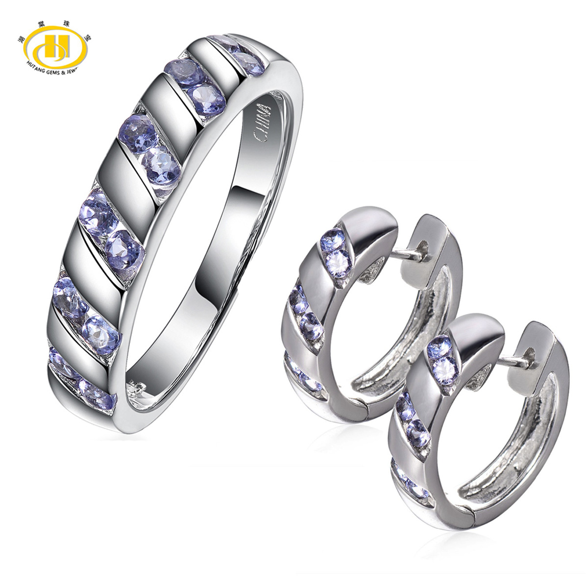 Hutang Natural Tanzanite Gemstone Solid 925 Sterling Silver Jewelry Sets  Earrings & Ring Women's Fine Jewellry Gift