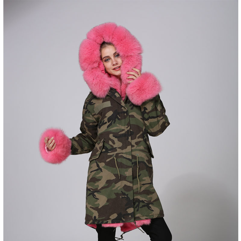2018 Top Quality Mhnkro Camouflage Russia Peach Fur Coat Fox Fur Collar/Cuffs/Border Long Length Hot Sale Ins Style