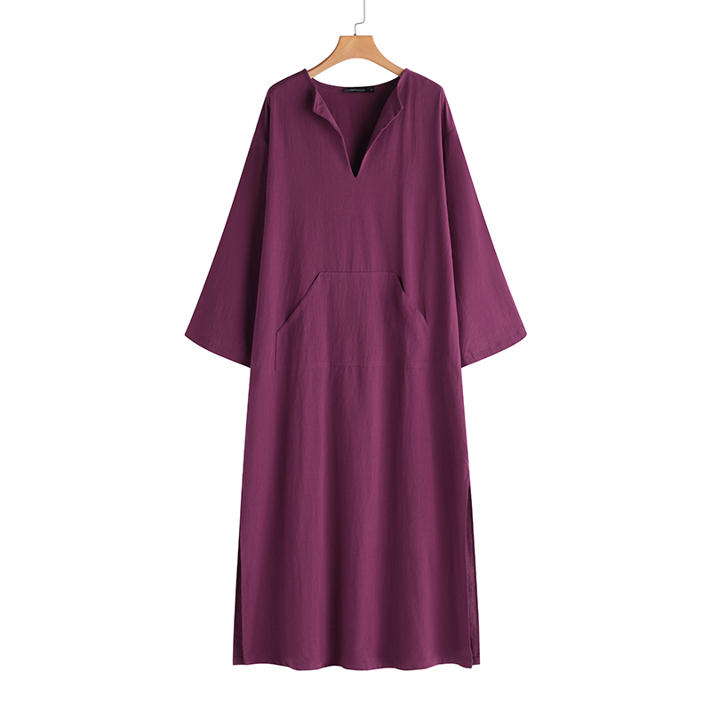 Women Vintage Maxi Long Dress 19 Celmia Summer Autumn Sexy V Neck Long Sleeve Split Casual Loose Linen Vestidos Kaftan S-5XL 16