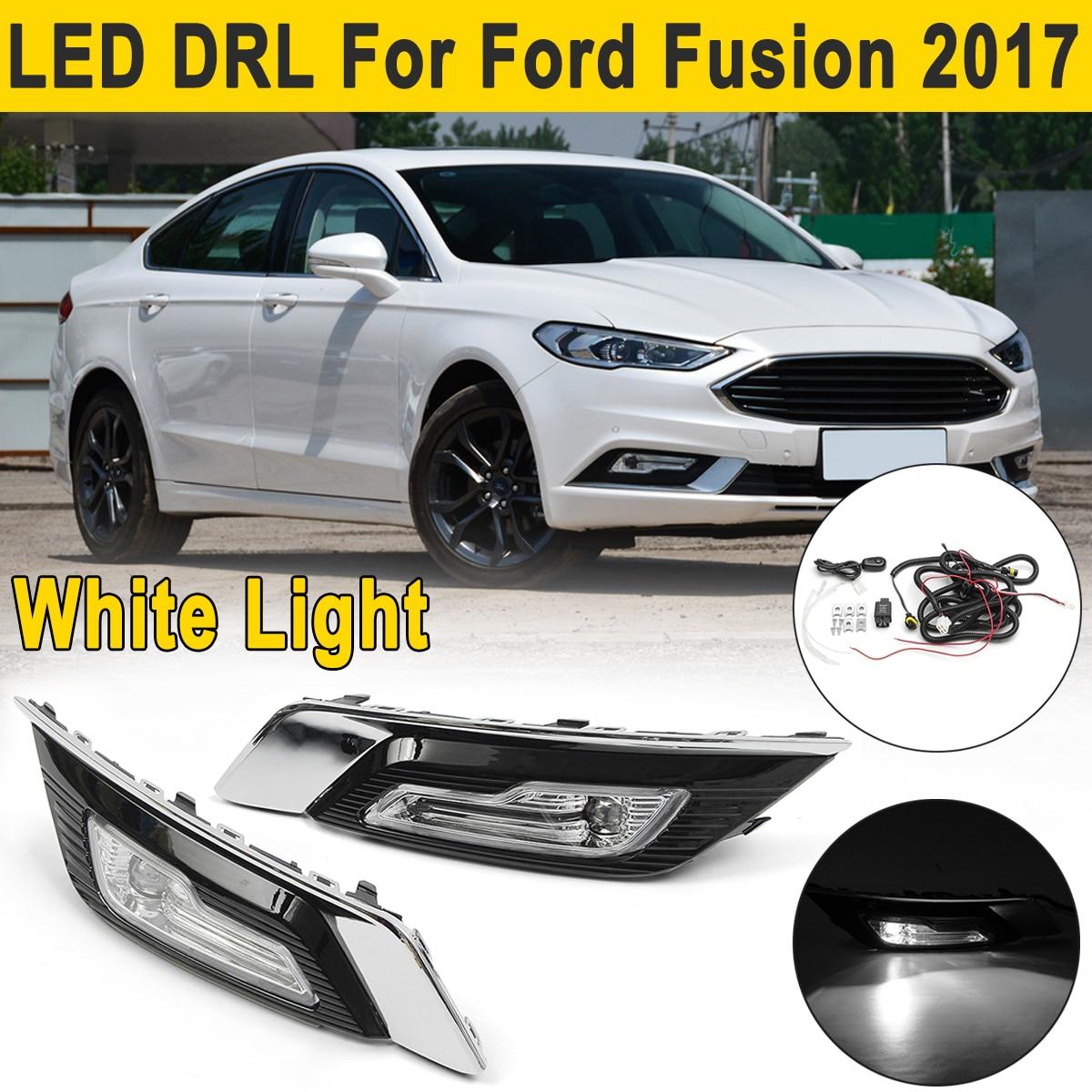 2 pcs LED DRL Feux de jour Lampes Clignotants Brouillard Lumières Fil pour Ford pour Fusion pour Mondeo 2017 2018 Conduite Lumière