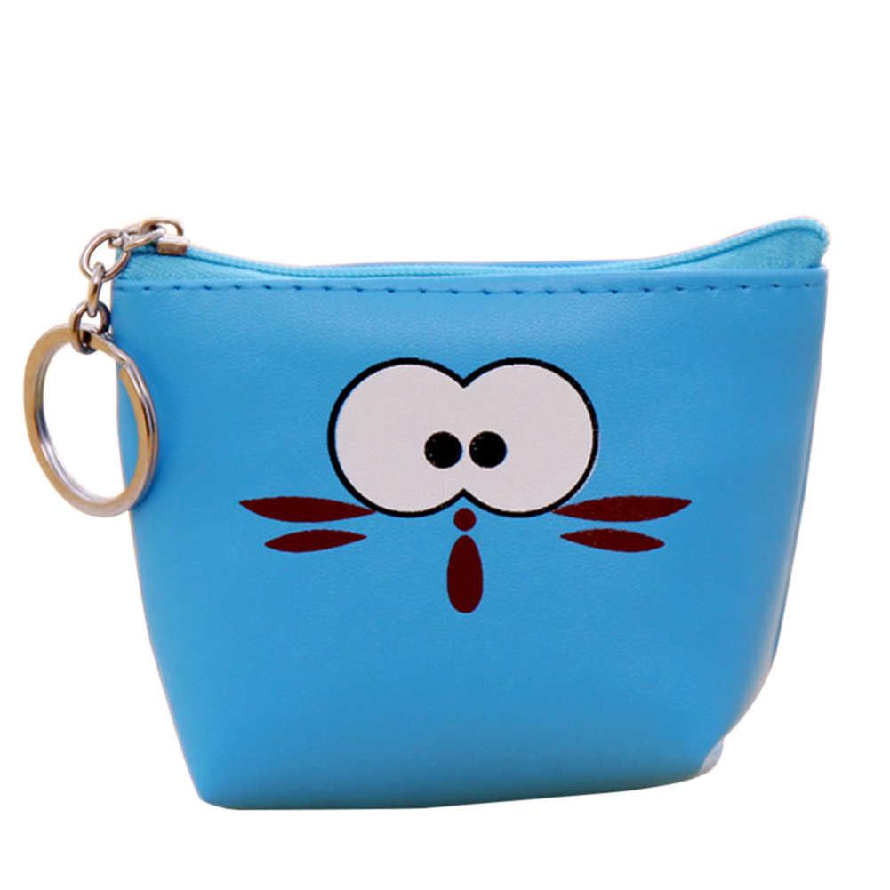 Милый мультяшный нулевой кошелек Забавный кожаный кошелек для монет с кольцом для ключей женский кошелек на молнии