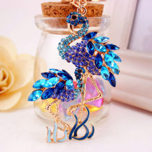 RE Charm Double Flamingo Bird Key chain Trinket Crystal Rhinestone Keychain Bag Charm Pendant Car keyrings for women J3030(China)