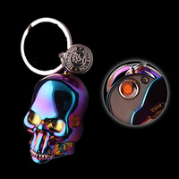 USB Electronic Lighters With Key Ring Windproof Flamess Cigarette Lighter Smoking Plasma Arc Lighter New Year Gifts for Men