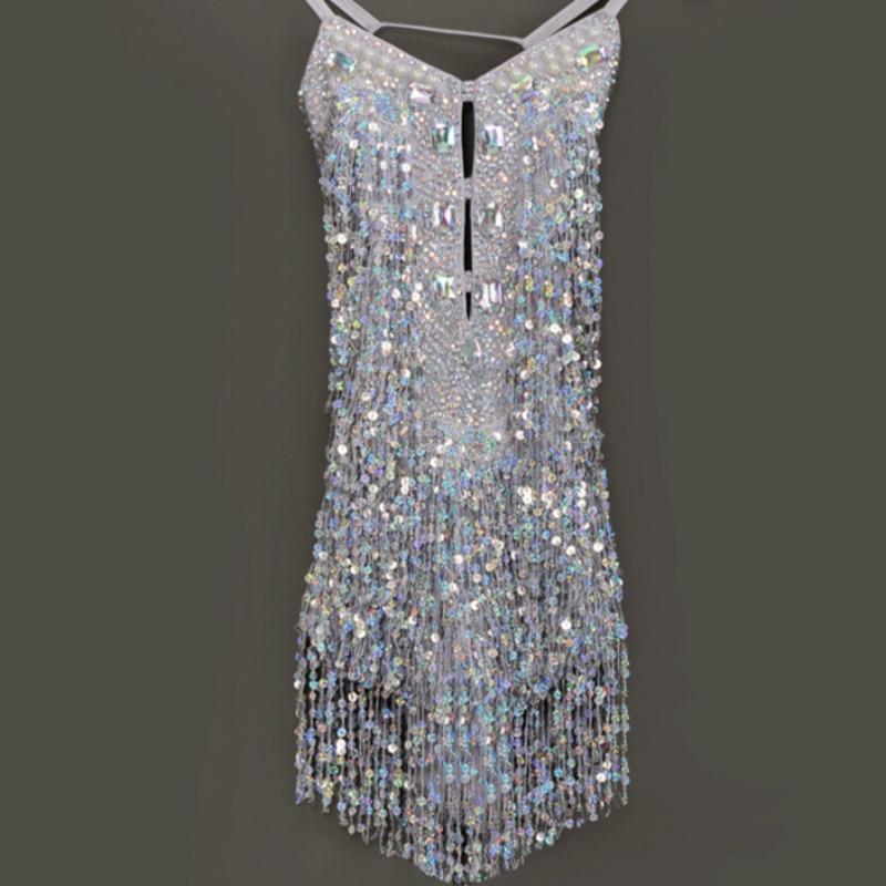 8a857397d Fringe Latin Dress Tassel Sequins Girls Ballroom Dancing Dresses ...