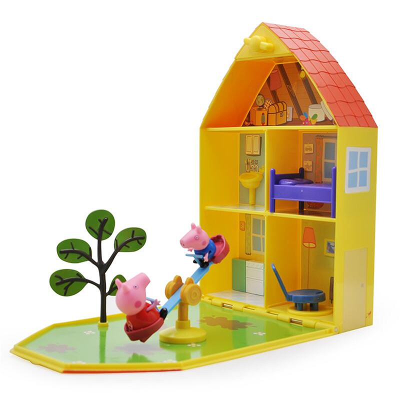 Peppa George Pig Pink pig Toys Doll Real Scene Model Amusement park PVC Action Figures Family Member Early Learning Educational
