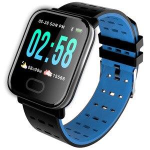 Image 1 - Bluetooth Смарт браслет большой цветной экран сенсорный смарт часы кровяное давление съемный ремешок браслет для iOS Android подарки горячая распродажа