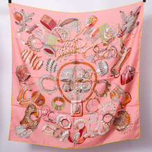 Pure Silk Scarf Women Rings Scarves Bandana Square Headband Hairband Handmade Hemming 90*90cm