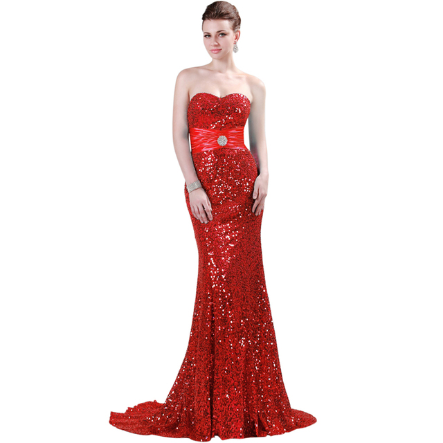 Evening Dresses Long Mermaid Sequin Dress Sky Blue Red Black Gold ...