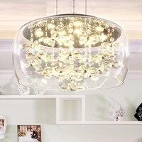 Furnishings brief modern K9 crystal flower pendant light fixture European fashion home deco living room DIY glass pendant lamp