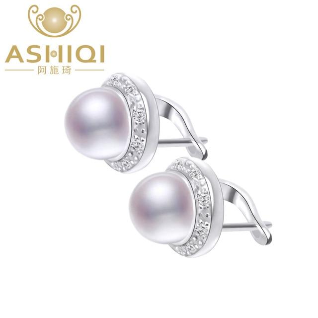 ASHIQI 本物の天然淡水真珠のスタッドのイヤリング女性のジュエリーギフト卸売
