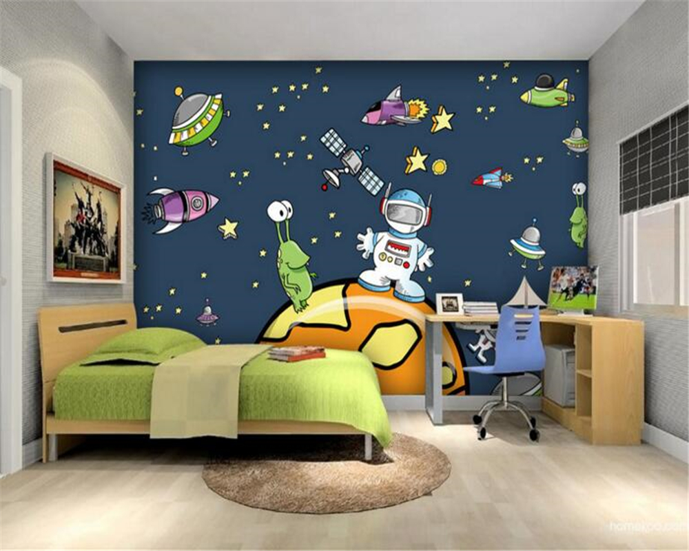 beibehang papel de parede 3d Cartoon universe sky spacecraft large mural wallpaper wall paper for walls wall papers home decor large flower blossom floral 3d room modern wallpaper for walls 3d livingroom wall paper mural rolls household papel de parede