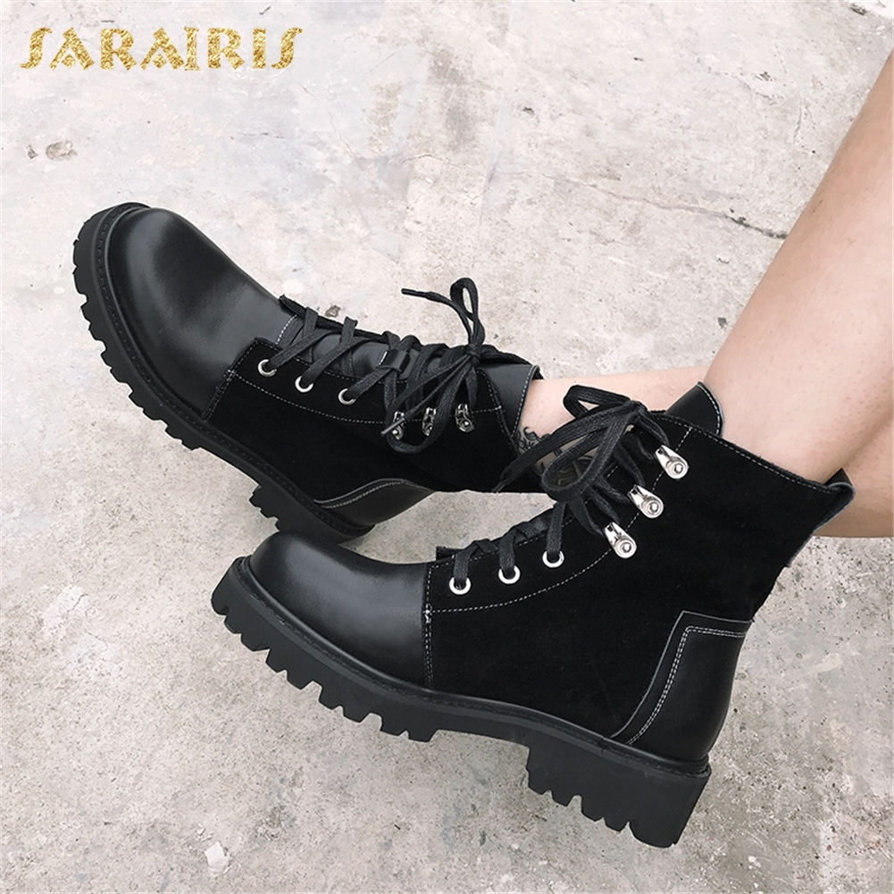 SARAIRIS 2018 Cow Suede Leather Fashion Women Boots Woman Shoes Ankle Boots Lace Up Chunky Heels Boots Shoes WomanSARAIRIS 2018 Cow Suede Leather Fashion Women Boots Woman Shoes Ankle Boots Lace Up Chunky Heels Boots Shoes Woman