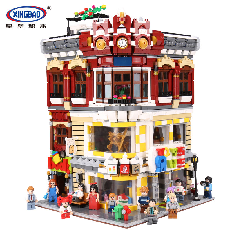 XingBao 01006 Genuine Creative MOC City Series The Toys and Bookstore Set Children Building Blocks Bricks legoing Toy Model Gif xingbao 01001 creative chinese style the chinese silk and satin store 2787pcs set educational building blocks bricks toys model