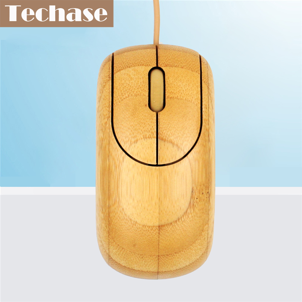 Techase Wired Mouse Փայտե դռների խաղացողներ Rato Gaming Com Com Fio Bamboo Souris Ordinateur Mouses Souris for Computer with CE FCC Muis