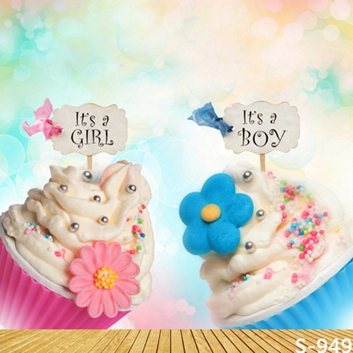 8x8ft Pink Girl Blue Boy Baby Shower Ice Cream Candy Ball Kids