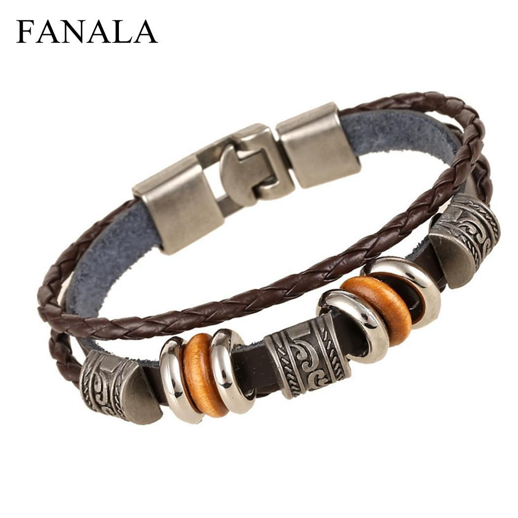 Alloy Wrap Bracelets Braided Synthetic Men Style Wrist Vintage Leather Bangle