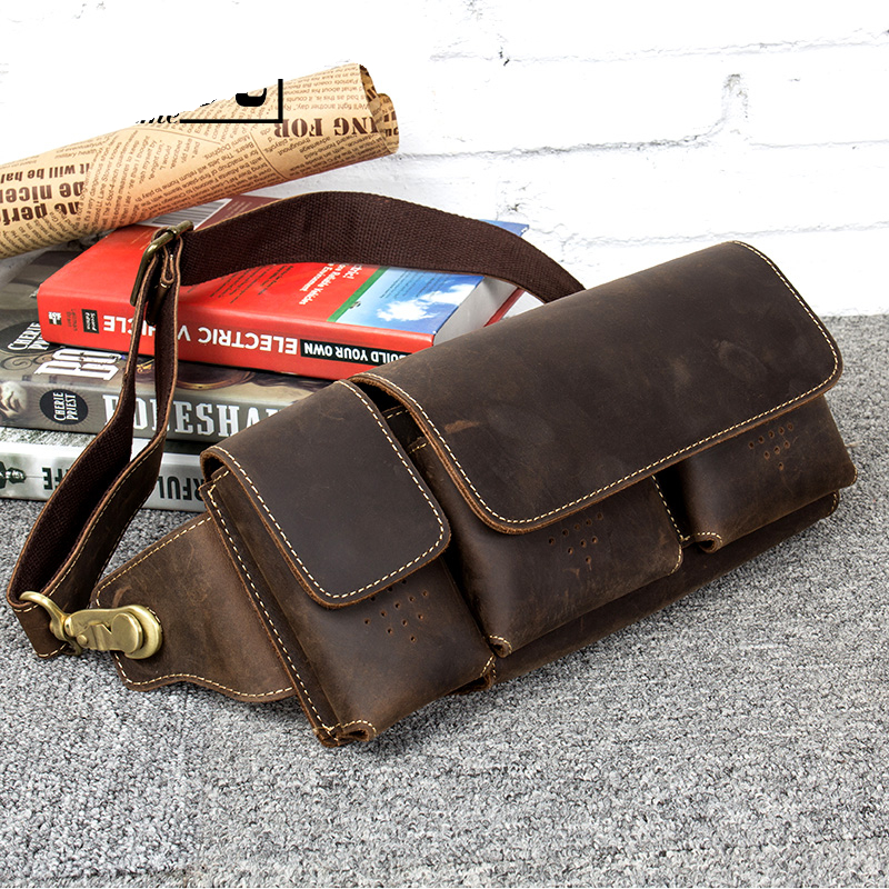 Brand Men Genuine Leather Waist Bag Vintage Cowhide Fanny Pack Male Hip Bum Bag Casual Phone Pouch Multifunctional Chest Bag vintage bags real genuine leather cowhide men waist pack pouch for men leather waist bag outdoor travle belt wallets vp j7144 page 9