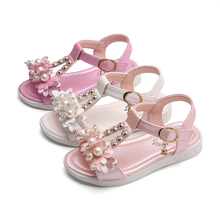 1 2 3 4 5 6-15Years Old Flowers Princess shoes Girls Kids Sandals soft bottom Children Baby girls Beach Shoes fille chaussure