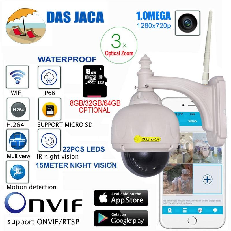 Das Jaca Optical Zoom 1.0mega Outdoor Camera WIFI PTZ Dome IP Surveillance Camera p2p 720p HD Night Vision CCTV Security Camera
