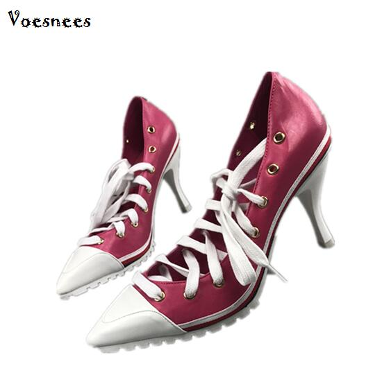 Pumps European Station 2018 Spring Korean Version Candy Color Pointed Shallow High heel 8cm Cross-tied Pointed Toe Lady's Shoes