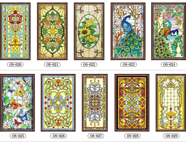 decorative stained glass windows film custom wardrobe doors church stained glass christmas decorations for home 63x109cm - Christmas Decorative Window Film