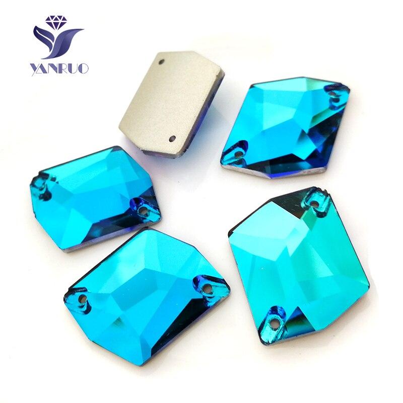 YANRUO 3265 Cosmic Blue Zircon Glass Crystal Sew On Glass Stones Rhinestones AAAAA Flat back Shoes For Jewelry