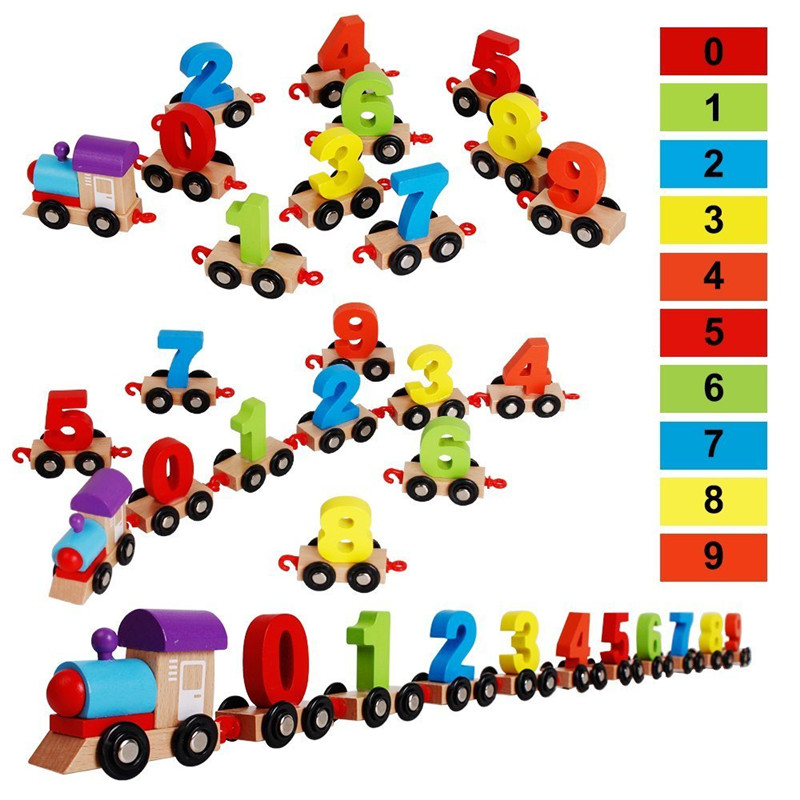 MWZ Mini Digital Train Wooden Alphabet Number Educational Toys Christmas gift Railway Tools For Kids