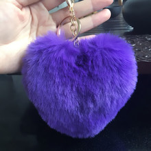 chaveiro 2017 Charm Fluffy Women Keychain Pom Pom Artificial Rabbit Fur Heart Key Chain Car Keyring Bag Hang Jewelry Accessories