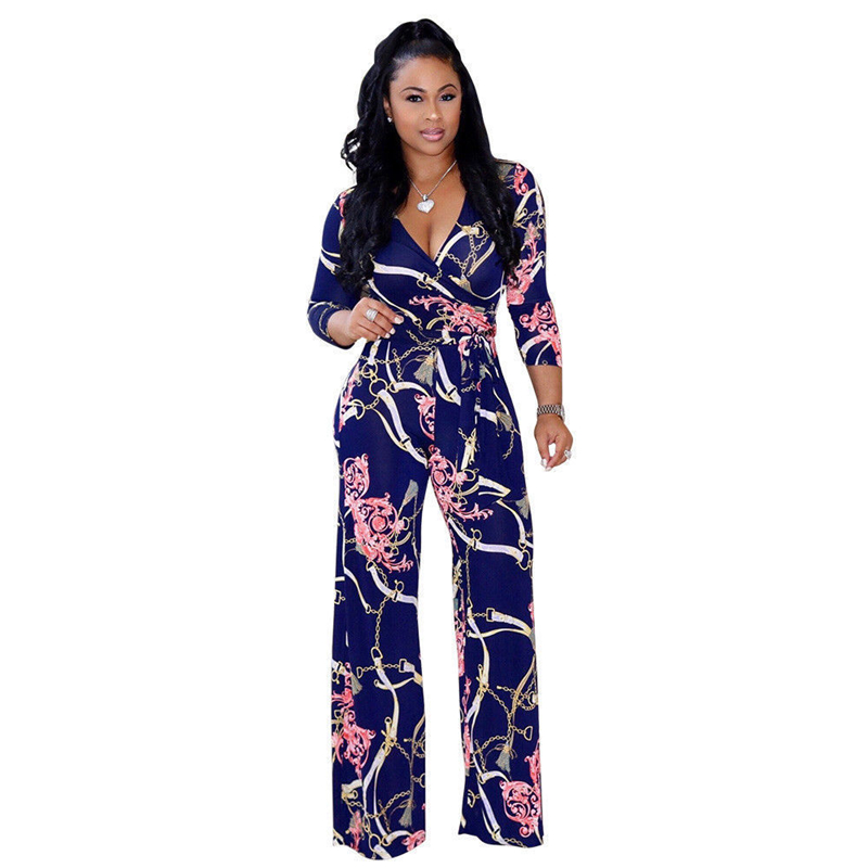 Plus Size Women   Jumpsuit   Floral print V-Neck Long Sleeve Bodycon Playsuits 2018 New Casual clubwear Long trousers summer autumn