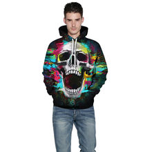 Man Hoodies Halloween Pocket Hooded Lovers Sweatshirts 3D Skull Printing Men And Women Long Sleeve New Hoodie Sudadera(China)