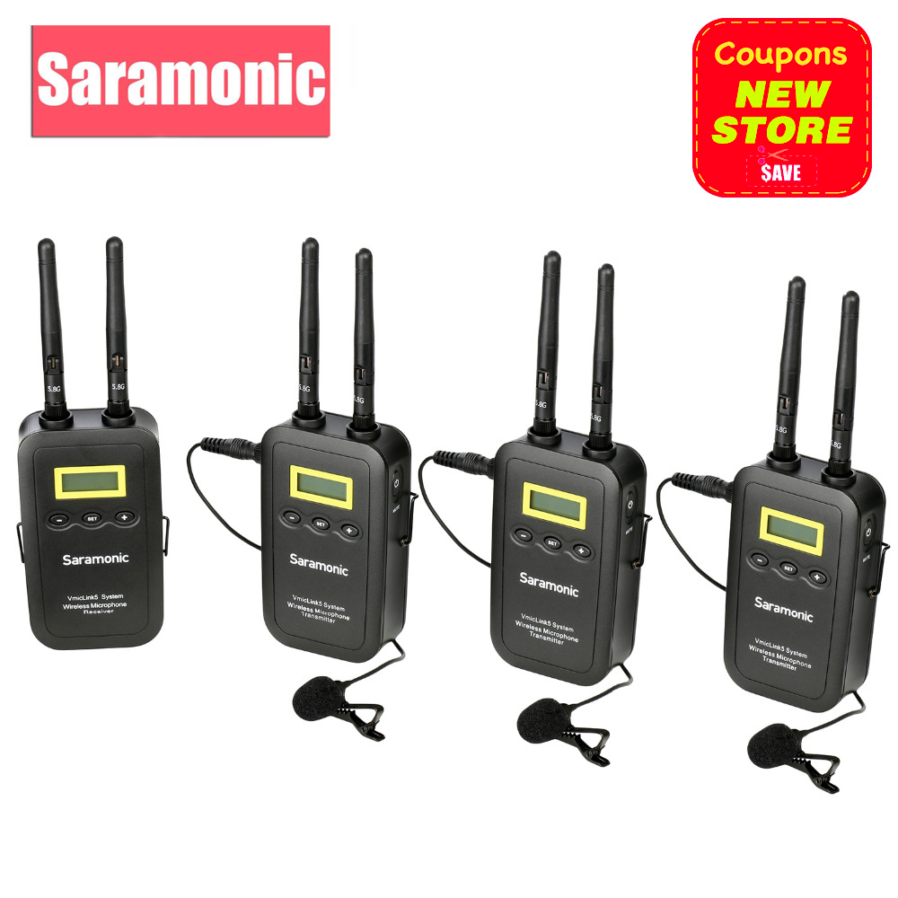 Saramonic 5.8GHz Wireless Lavalier Microphone System VmicLink5 3 Transmitters & 1 Receiver for Canon EOS Nikon D3300 DSLR Camera saramonic sr wm4c wireless lavalier microphone system for canon 6d 600d 5d2 5d3 nikon d800 sony dv dslr camcorders