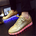 Hot 8 colors bright shoes with light LED Laser Fashion Casual Unisex Leather surface gold silver USB light shoes for adults