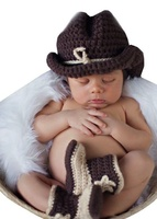 Gentleman Cowboy Newborn Baby Boy Shoees Handmade Costume Knitted Crochet Baby Photography Props Infant Hats Boots