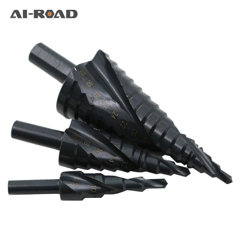 3 PC 4-12/20/32 Nitrogênio de Alta Velocidade Brocas HSS Etapa Cone De Aço Em Espiral para o Metal conjunto Triângulo Shank Broca Cortador de Buraco