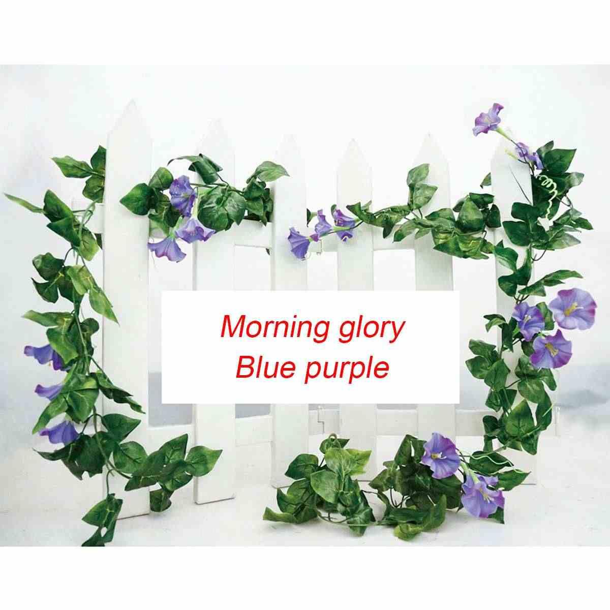 2 pièces 2.3 m Long haricot artificiel vigne matin gloryflower feuilles pour décor de mariage maison tuyau fond boutique fenêtre tenture murale