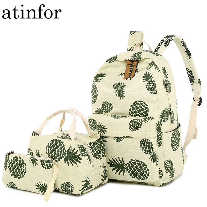 Fashion Canvas Women Backpack Set Fruit Pineapple Printing Female School Bagpack with Lunch Box Bags Girl Daily Laptop BookbagFashion Canvas Women Backpack Set Fruit Pineapple Printing Female School Bagpack with Lunch Box Bags Girl Daily Laptop Bookbag