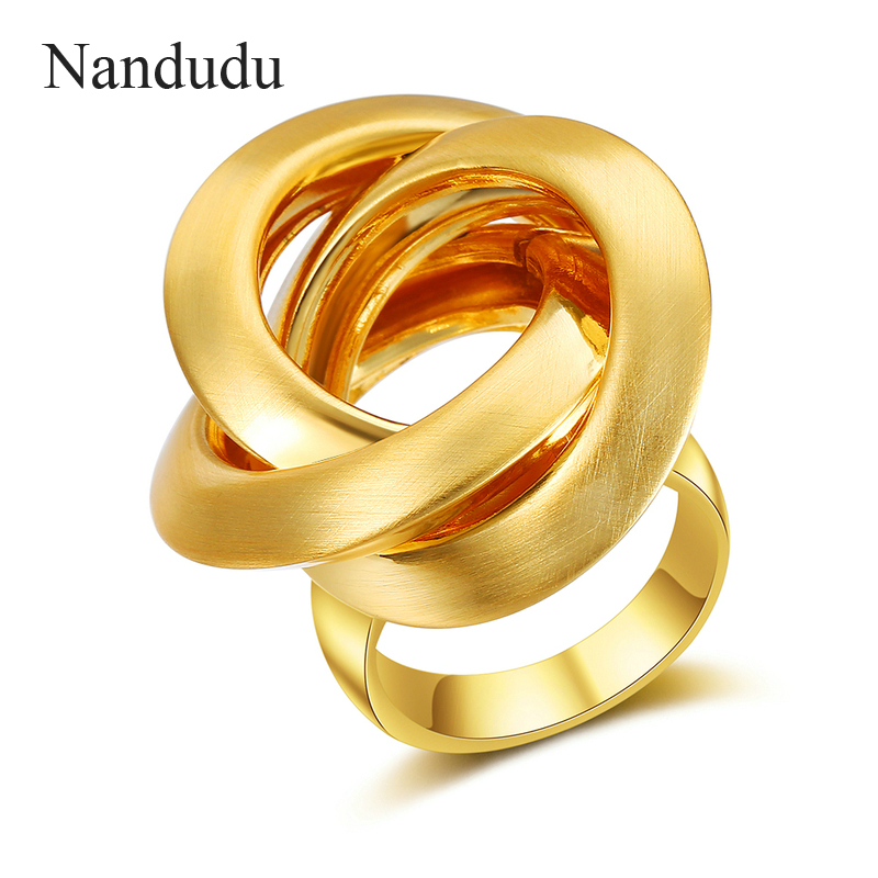 все цены на Nandudu New Gold & Silver Color Female Size Rings for Woman Knot Design Cocktail Party Rings Brand Jewelry Gift R1986 R1987