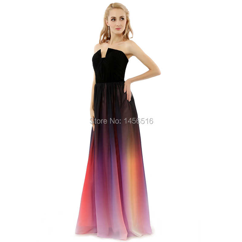 de288509c6 Vestidos de festa A line Strapless Gradient Ombre Chiffon Evening Dresses  for Elegant Woman Real Photo Long Prom Dresses 2018