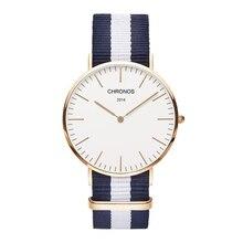 CHRONOS Luxurious Unisex Style nylon Wristwatch Ultrathin Quartz Watches Basic Simplicity Wrist Watch three