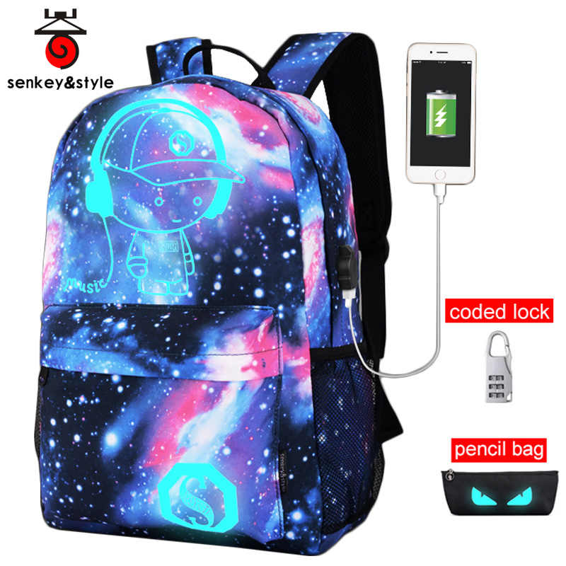Raged Sheep Girls School Bags Boy Usb Anti Theft Luminous Backpack Teenager Waterproof Starry Sky Bag Back To School Laptop Bags