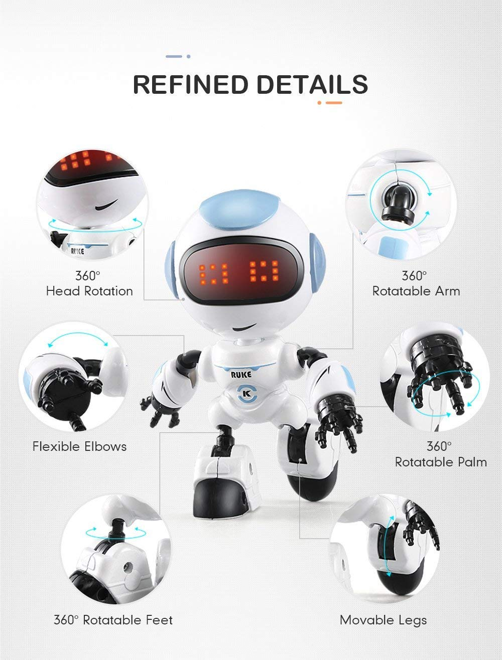 JJRC R8 LUKE Intelligent Robot Touch Control DIY Gesture Talk Smart Mini RC Robot Gift Toy 9