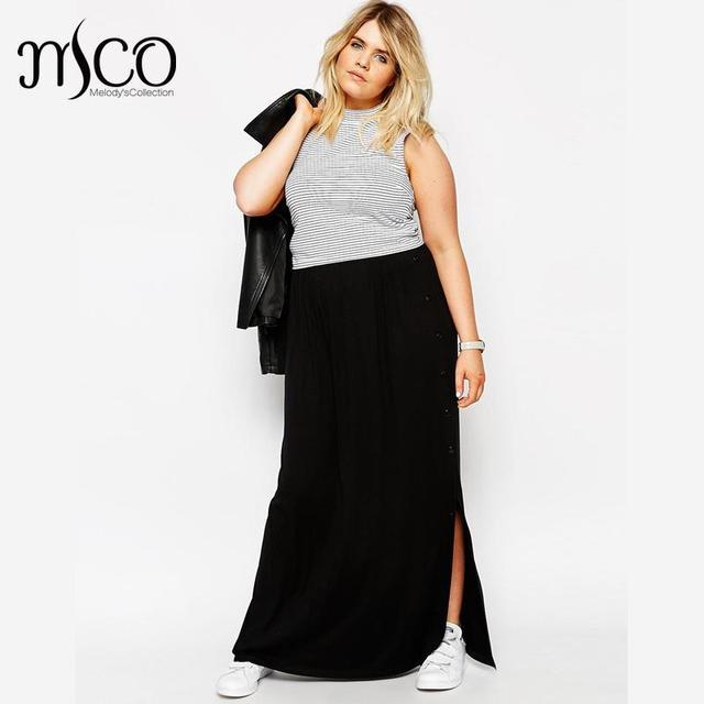 a840e1b508c36 High Quality Vintage Empire High Waist Summer Beach Maxi Skirt Casual Women  Button Side Black Long Skirts Plus Size Saia 6XL 7XL