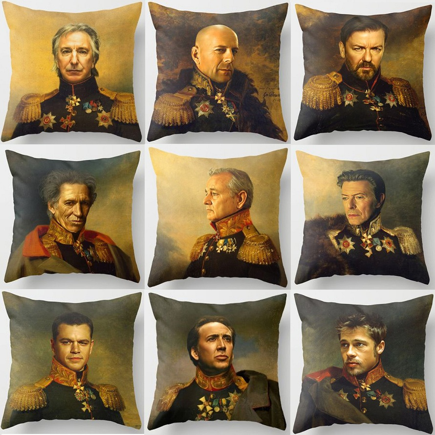 Renaissance Style Bruce Willis Michael Jackson Will Smith Steve Jobs Oil Painting Decor Art Sofa Throw Pillow Cover Car Cushions