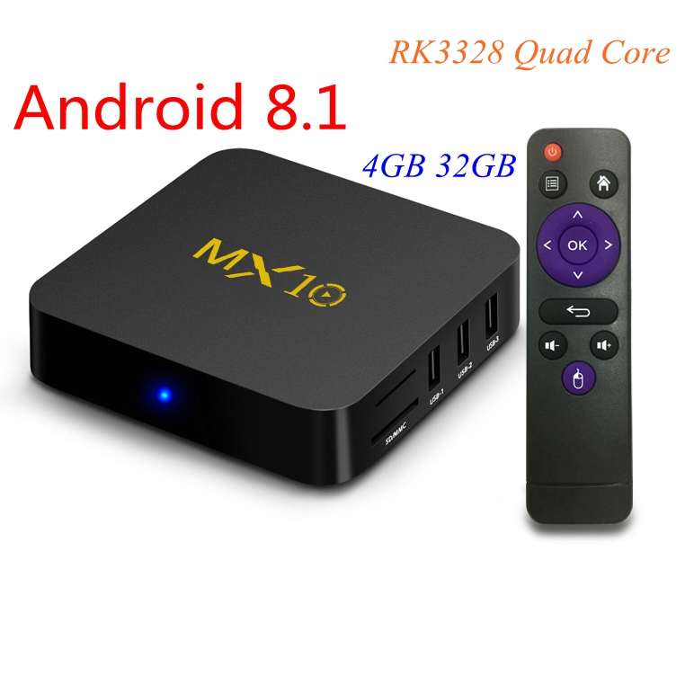 Android 9 0 TV Box MX10 4GB 32GB RK3328 Quad Core 2 4G WiFi 100M LAN
