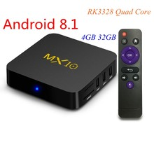 Android 8,1 ТВ коробка MX10 4 ГБ/32 ГБ RK3328 Quad-Core 2.4g WiFi 100 м LAN VP9 H.265 HDR10 4 К USB 3,0 Smart Media Player(China)