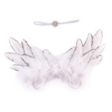Newborn Baby Photography Prop Angel Feather Wings with Headband Set 3 Color