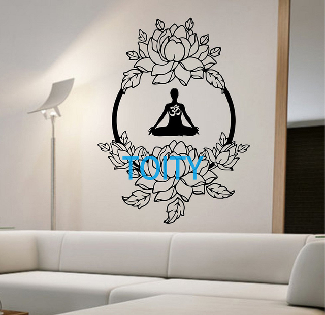 Lotus Wall Decal Sticker Art Decor Quarto Mural Design Design De Interiores  Buda Meditação Om Namaste Part 74