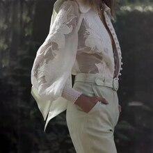 CHICEVER 刺繍パッチワーク透視シャツ女性ラペル襟ランタンスリーブルーズレディーストップスやブラウスファッション新